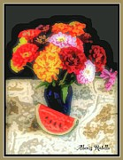 Alexis Rotella Framed Prints - Zinnias With Watermelon Framed Print by Alexis Rotella