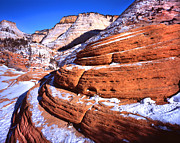 Zion National Park Posters - Zion Beehives in Winter Poster by Ray Mathis