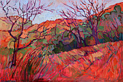 Zion National Park Painting Prints - Zion Flame Print by Erin Hanson