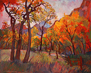 Zion National Park Paintings - Zion Gold by Erin Hanson
