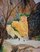 Zion National Park Painting Prints - Zion Hike Print by Patricia Beebe