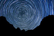 Exposure Pyrography Prints - Zion Long Exposure Star Trail Image Print by Katrina Brown