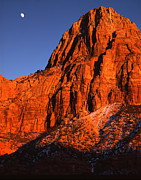 Zion National Park Posters - Zion Moonrise Poster by Ray Mathis