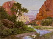Zion National Park Painting Prints - Zion Morning Print by Sue Messerly