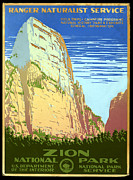 Natural History Digital Art Framed Prints - Zion National Park Ranger Naturalist Service  Framed Print by Unknown