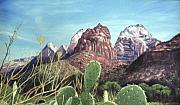 Zion National Park Painting Prints - Zion National Park Print by Sharon Casavant