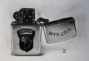 Photo Realism Drawings - Zippo Vietnam lighter 1967 drawing by Gabor Bartal