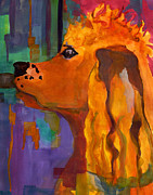 Abstract Dogs Paintings - Zippy Dog Art by Blenda Studio