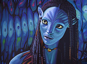 Science Fiction Art Painting Posters - Zoe Saldana in Avatar Poster by Paul  Meijering