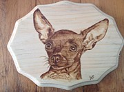 Pet Dog Pyrography Framed Prints - Zoe the Chihuahua Framed Print by Loring Slivinski