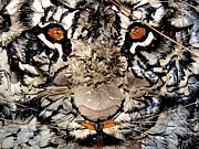 White Tiger Mixed Media - Zoetic Epithet Purregrination Transflecting Silent Whispers Heard by Christine Cholowsky