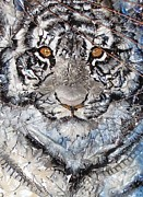 White Tiger Mixed Media - Zoetic Epithet Purregrination Transflecting Silent Whispers Heard segment by Christine Cholowsky