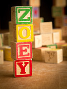 Wood Blocks Posters - ZOEY - Alphabet Blocks Poster by Edward Fielding