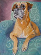 Boxer Prints Framed Prints - Zoey Framed Print by Sharon Casavant