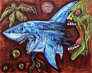 Sharks Mixed Media Posters - Zombie Eats Shark Poster by Laura Barbosa