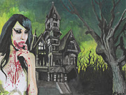 Haunted House Paintings - Zombie Girl by Eric Hamilton