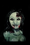 Movie Art Paintings - Zombie Girl by Marisela Mungia