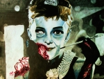 Actress Mixed Media Prints - Zombie Hepburn Print by Jeremy Moore