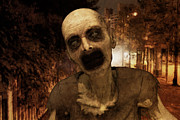 Streetlight Digital Art - Zombie in The City by Liam Liberty