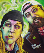 Cop Paintings - Zombie Jay and Silent Bob by Michael Vanderhoof