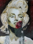 Actress Mixed Media Prints - Zombie Marilyn Print by Jeremy Moore