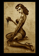 Emo Digital Art Posters - Zombie Pinup Poster by Screaming Demons