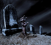 Zombie Rising From The Grave Print by Diane Diederich