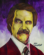 Ron Ron Paintings - Zombie Ron Burgundy by Michael Vanderhoof