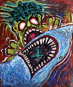 White Shark Painting Prints - Zombie Shark Fight Print by Laura Barbosa