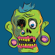 Outsider Digital Art Prints - Zombie Skull Print by Jera Sky
