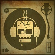 Skulls Digital Art - Zombie Turntable by Milton Thompson