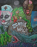 Sharks Paintings - Zombie Walk by Laura Barbosa