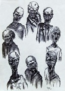 Zombies Drawings Prints - Zombies Print by Michael  TMAD Finney