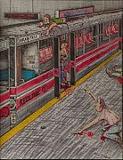 Richie Montgomery Drawings - Zombies on the Red Line by Richie Montgomery