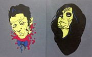 Dia De Los Muertos . Mexican. Face   Skull Paintings - Zombies by Trina Woods