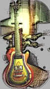 Guitar Headstock Framed Prints - Zoot Suit Guitar Abstract Framed Print by Rosemarie E Seppala