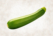 Single Object Painting Posters - Zucchini  Poster by Danny Smythe