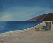 Malibu Painting Posters - Zuma Lifeguard Tower Poster by Ian Donley
