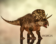 Prehistoric Digital Art Metal Prints - Zuniceratops Dinosaur Metal Print by Bob Orsillo