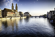 Two Towers Framed Prints - Zurich Limmat River Scenic Framed Print by George Oze