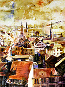 Switzerland Painting Originals - Zurich Skyline by Ryan Fox