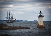Lighthouse Art - Salems Friendship sails past Fort Pickering Lighthouse by Jeff Folger