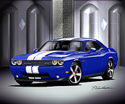 Challenger Drawings -  2011 DODGE CHALLENGER SRT8 392 Dark blue by Danny Whitfield