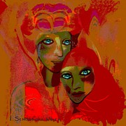 Luminescent Digital Art -  312 - Women  with  turquoise eyes ...    by Irmgard Schoendorf Welch