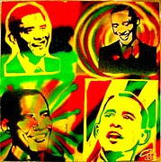 Protest Painting Prints -  4 Rasta Obama Print by Tony B Conscious