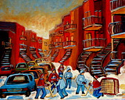 Ice Hockey Paintings -  A Beautiful Day For The Game by Carole Spandau