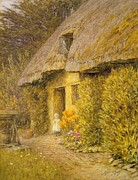 Standing Painting Framed Prints -  A Child at the Doorway of a Thatched Cottage  Framed Print by Helen Allingham
