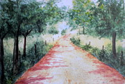 Gravel Road Painting Framed Prints -  A Country Road Framed Print by Vicki  Housel
