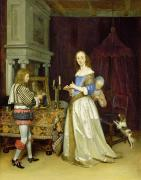 Doggy Dress Framed Prints -  A Lady at Her Toilet Framed Print by Gerard ter Borch