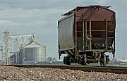 Wagon Wheels Originals -  A Lone Grain Hopper Stands Idle on the Tracks by Mark Hendrickson